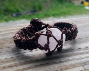Rose Quartz Bracelet, Healing Crystal Bracelet, Crystal Bracelet, Hemp Bracelet, Stone Bracelet, Gemstone Bracelet, Hemp Anklet,