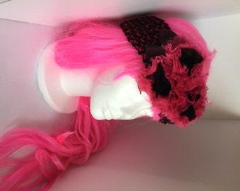Pink & Black Ear Warmer - Adult - Knit Ear Warmer w/ large flower