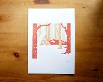 "Cabin in the Snow Lino Print 8""x11"" Home Decor, Wall Art"