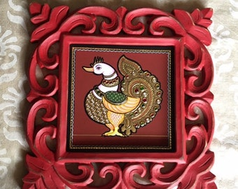 Annapakshi with ornate wooden red frame