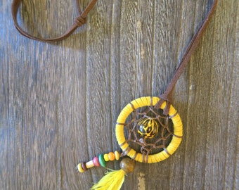 Leopard print dreamcatcher necklace,dreamcatcher, yellow,hippie,boho,native american,dreamcatcher necklace feather
