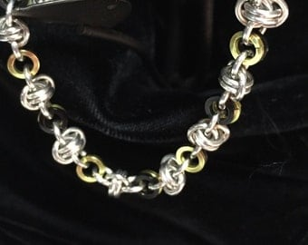 Handmade Chainmaille Barrel Weave Bracelet with Black and Gold Accents
