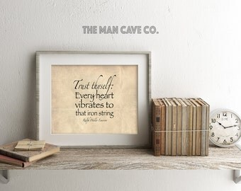 ralph waldo emerson quote printable art trust thyself quote man cave decor manly wall art man