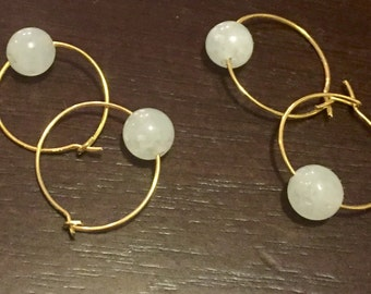 Gold Plated Hoops with Natural Bead