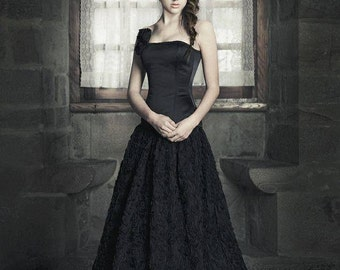 Fantasy Wedding Gown - Tulle long skirt and satin corset - Corset Wedding Dress - Black wedding gown Gothic- Dark princess