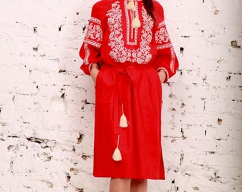 Embroidered Long Dress red for women. Vyshyvanka. Ukrainian embroidered dress
