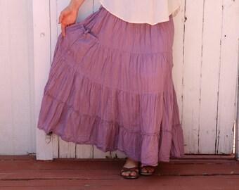 Gauze Cotton Boho Gypsy Tiered Maxi Skirt in LAVENDER // Pockets, Natural Fiber, Flexible Waistband / Breathable Elegance!
