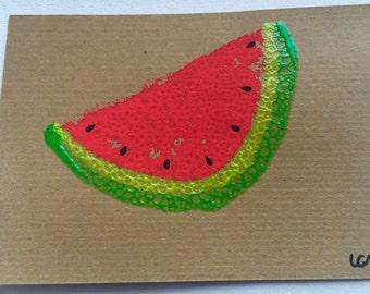 Handmade Watermelon Card | Watermelon Birthday Card | Watermelon Greetings Card | Greeting Card | Fruit Card | Carta de Sandia