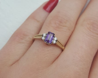 Vintage 9ct Gold Amethyst and Cubic Zirconia Ring Engagement