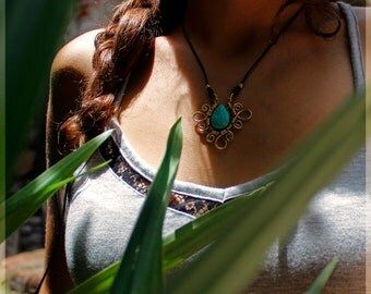 Turquoise - Turquoise Flower necklace