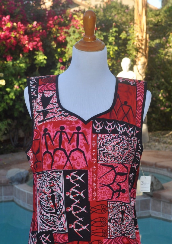 90s Vintage Sleeveless Red Black and White Boho Gypsy Festival Tribal Maxi Dress Sz M