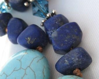 10SP114 -Turquoise and Rustic  Lapis Lazuli with Swarovski