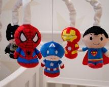 Super Hero Mobile - Baby Crib Mobile - Super Hero Nursery - Marvel - DC Comics - Avengers - Captain America, Iron Man, Spiderman, Superman