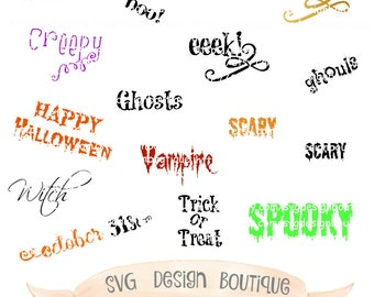 Halloween SVG Bundle  - Halloween Font - Vinyl cutting file   Silhouette Cameo Designer Edition & Cricut Design Space
