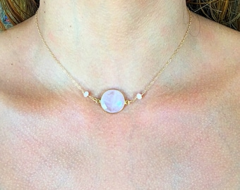 """14""""long round shape Rose Quartz necklace accented with two pink Opals,TARNISH FREE,14ct gold filled chains and clasp, crystal,attracts love"""