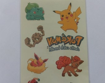 Pokemon Tattoo sheet, vintage