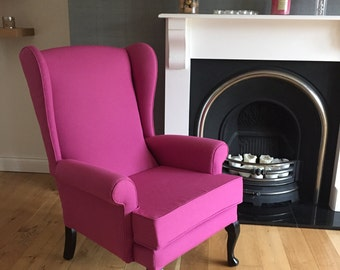 Queen Anne Wingback Fireplace Armchair