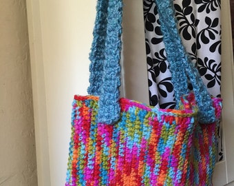 Colorful Crocheted Purse / Tote / Bag