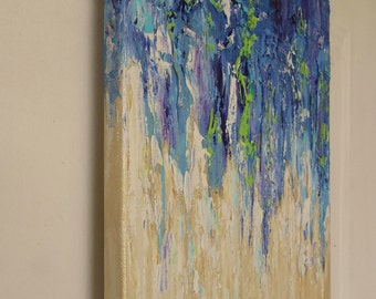 Blue Textured Abstract Original Artwork, Palette knife acrylic painting on canvas, Contemporary Modern Wall Art Canvas, Impressionist Art