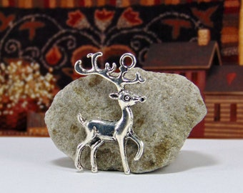 4 Pieces Antique Silver Deer Charms - Deer Jewelry - Christmas Charms - Christmas Jewelry - Jewelry Charms - Animal Charms - Hunting - C0044