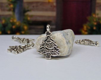 Pack of 4 - Antique Silver - Christmas Tree- Christmas Charm - Christmas Jewelry - Christmas - Christmas Tree Charm - Holiday Charms - C0047