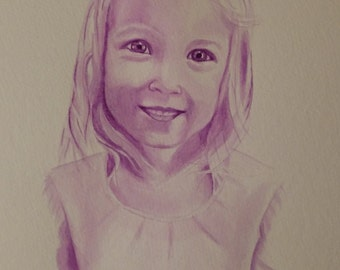 Custom watercolor children's portraits