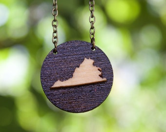 "Virginia Necklace - 16"" Antique Brass Chain - Virginia Jewelry - State Necklace - State Jewelry - Virginia Pendant - State Pendant"