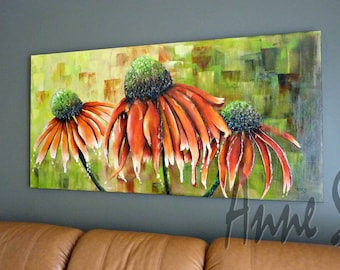 Coneflowers trio, Gallery wrap canvas, 30/60, acrylic and oil, flowers, mixed media, contemporary, timeless, Orange, by conditions
