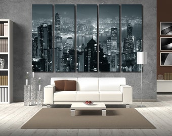 Hong Kong Photo Hong Kong Canvas Hong Kong City Hong Kong Print Hong Kong Poster Cityscape Wall Decor Skyline Canvas City Canvas City Print