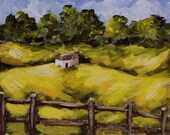Homestead, Original painting, Rolling Hills, Country, Farmland, Landscape Painting