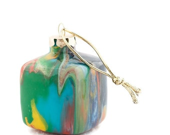 Hand Painted Glass Ornament - Multicolored Unique Handmade Christmas Cube OOAK Holiday Decor