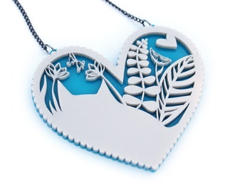 Big Chunky Cat Heart Necklace -  pearl acrylic laser cut necklace platinum pearl pearlised heart - big statement jewellery