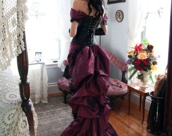 Gothic Wedding Dress | Luscious in Leather | Gothic Victorian Dress, Steampunk Cosplay, Corset Gown, Black Leather Dress, Bustle Dress