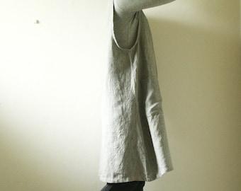 LINEN PINAFORE with 4 POCKETS / stripe linen apron / pinafore / linen tunic / linen dress / apron / women / made in australia / pamelatang