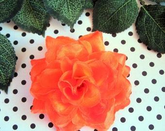 Orange Rose Hair Clip- Pinup Rockabilly Rose