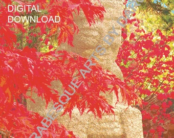 Smiling Buddha Download with Red Maple Leaves