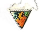 Real Butterfly Wing Necklace Sunset Moth Faceted Jewel Triangle