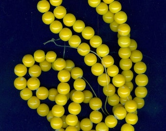 8mm Yellow Glass Round Beads Long Strand