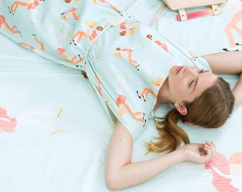 SALE Girls Illustration Linen Print Dress. Summer Shift Dress. Art Illustration Print Tunic. Linen Bridesmaid Dress. Catherine Dress SS16