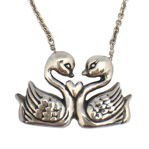 Swan Necklace      silver gold sterling jewelry