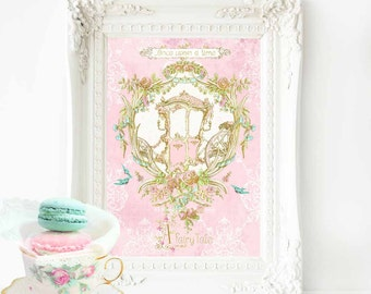 Once upon a time print, nursery decor, nursery wall decor, princess print, carriage, pink, gold, fairy tale, baby girl nursery decor, A4