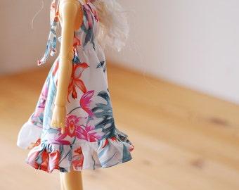 Orchid print summer dress  - Slim Mini MSD BJD clothes