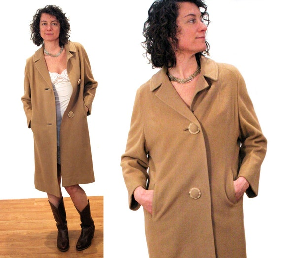 Creamy Coffee 60s Cashmere Coat 1960s Tan Pure Cashmere Swing