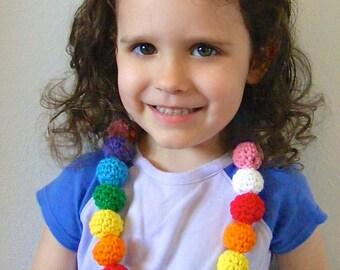 Rainbow Necklace Crochet Necklace Rainbow Beaded Necklace Toddler Girl Necklace Toddler Necklace Playful Dress Up Little Girls Jewelry
