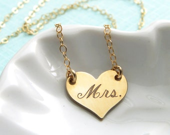 Bridal Shower Gift • Mrs. Engraved Heart Necklace • Engraved Mrs. • New Bride Gift • Honeymoon Gift • Layering Necklace • New Wife