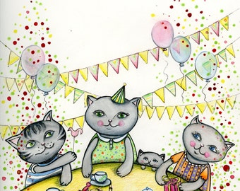 The Birthday Tea Party of My Little Kitty print by Tanya Besedina