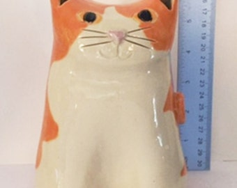 Cat coin bank: Hand Made Orange white pottery feline design whimsical kitty stoneware cat lover gift treasure collection