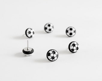 Soccer Ball Sports Push Pins, Map Pins. Futbol Fan Home Office Organization in Black Polymer Clay. FIFA World Cup Handmade Fun Gift Set of 6
