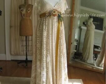 Hippie Lace Collage XL Champagne Lace Wedding Dress Boho Wedding Gown Rustic wedding Dress