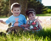 Matching Brother Sister Set - Tie Shirt - Pillowcase Dress - Morning Glory Linen